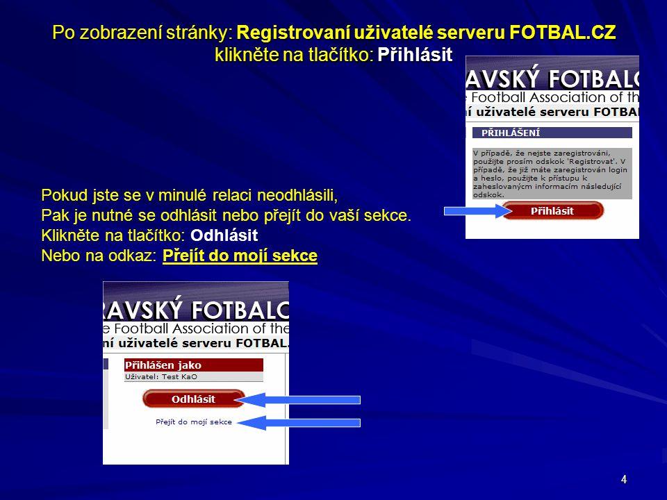 Po zobrazení stránky: Registrovaní uživatelé serveru FOTBAL