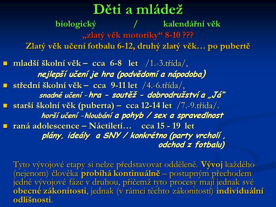 """Děti a mládež biologický / kalendářní věk """"zlatý věk motoriky 8-10"""