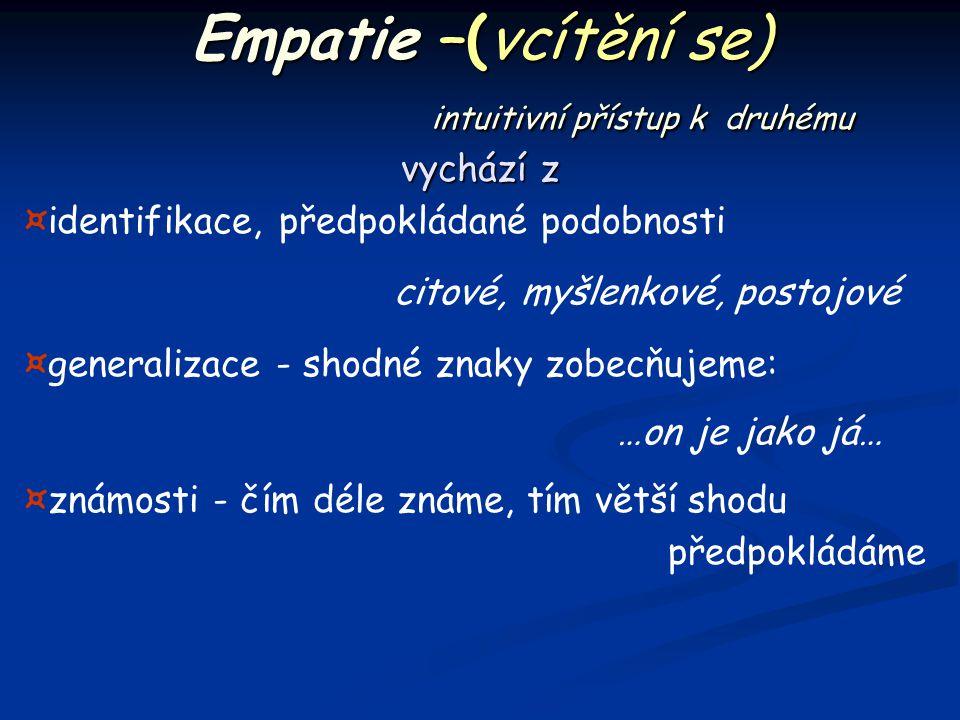 Empatie –(vcítění se) intuitivní přístup k druhému vychází z