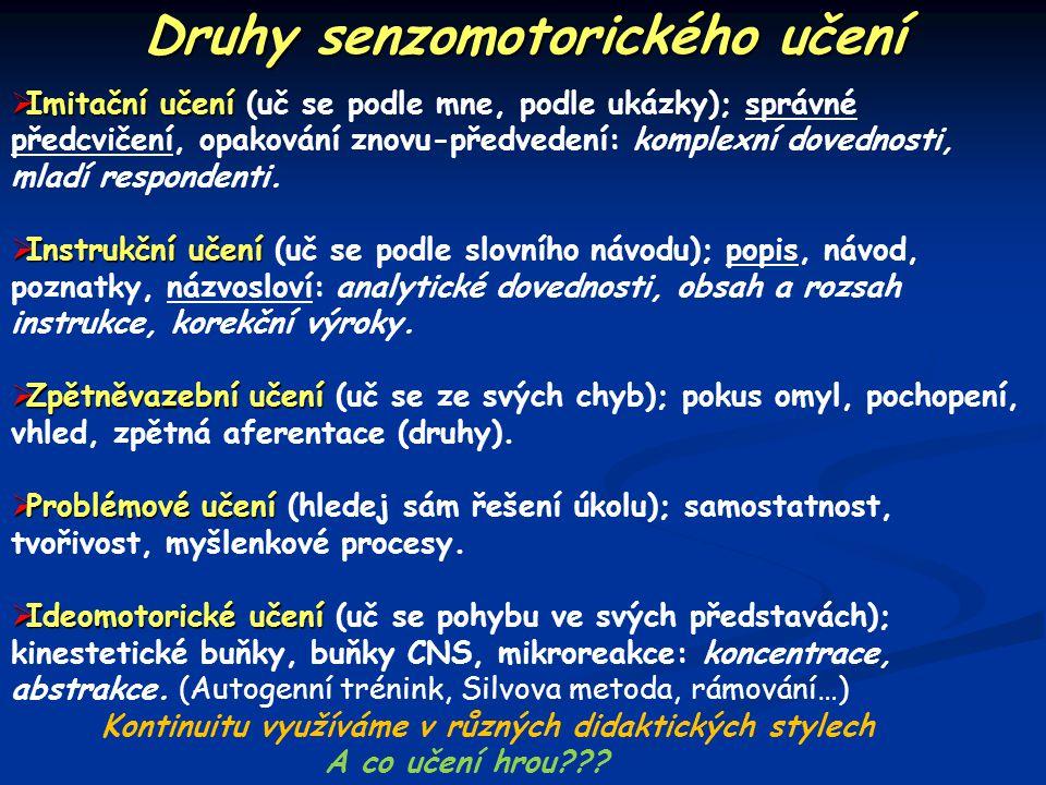 Druhy senzomotorického učení