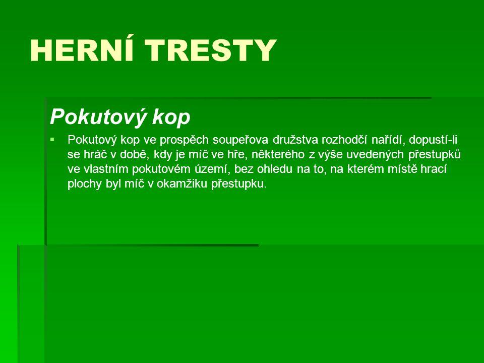 HERNÍ TRESTY Pokutový kop