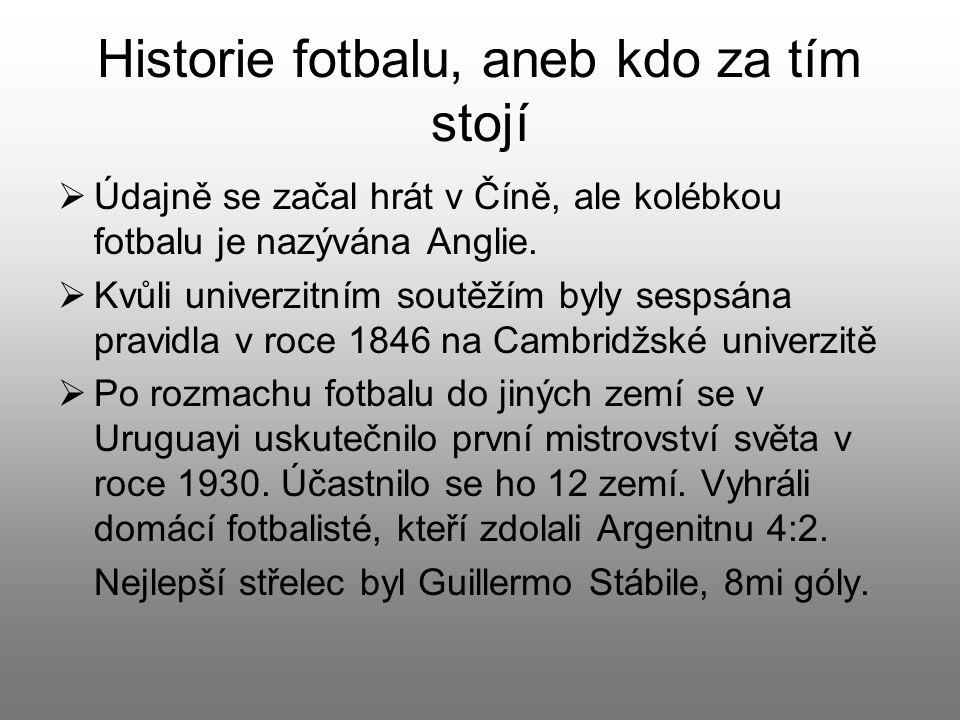 Historie fotbalu, aneb kdo za tím stojí