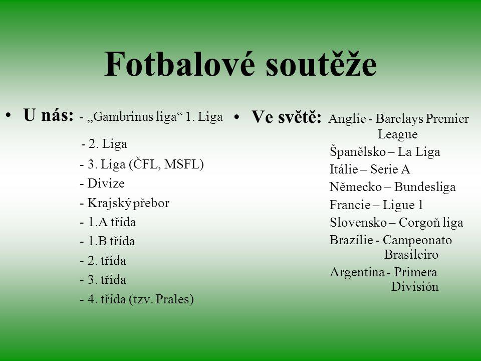 "Fotbalové soutěže U nás: - ""Gambrinus liga 1. Liga"