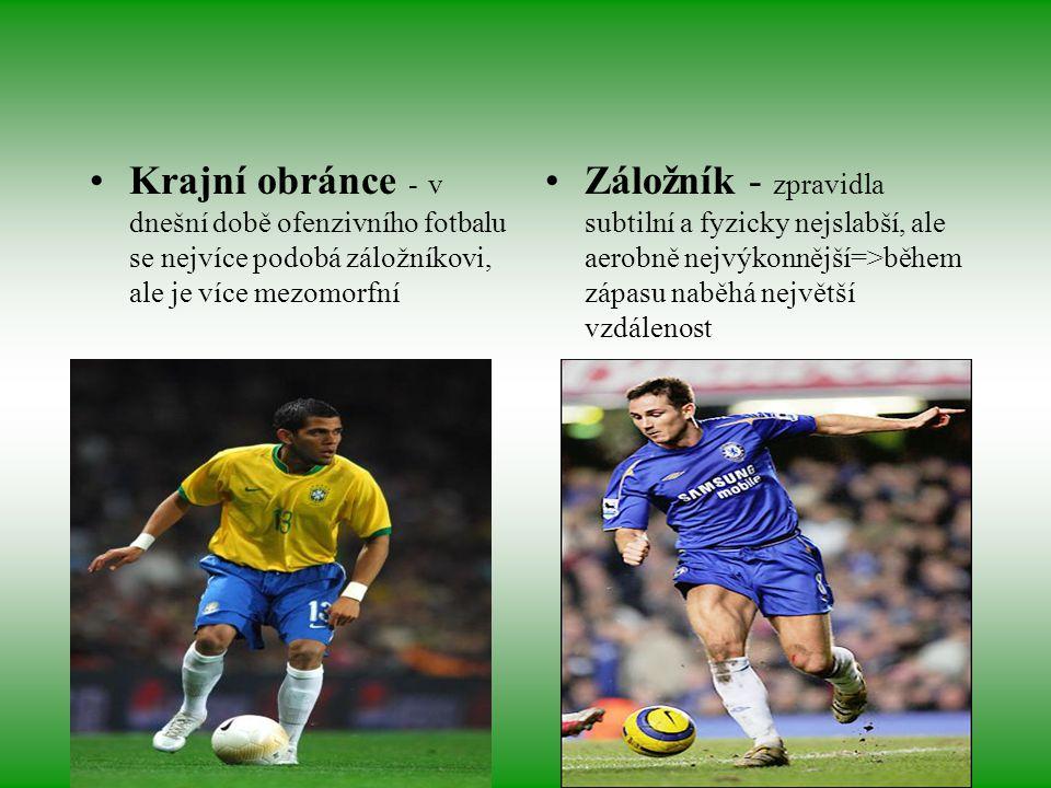 Krajní obránce - v dnešní době ofenzivního fotbalu se nejvíce podobá záložníkovi, ale je více mezomorfní