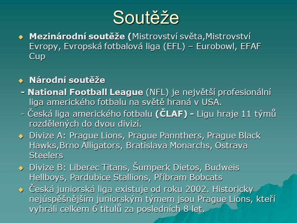 Soutěže Mezinárodní soutěže (Mistrovství světa,Mistrovství Evropy, Evropská fotbalová liga (EFL) – Eurobowl, EFAF Cup.