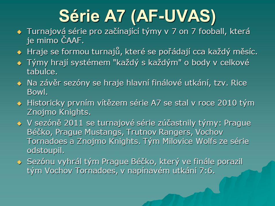 Série A7 (AF-UVAS) Turnajová série pro začínající týmy v 7 on 7 fooball, která je mimo ČAAF.