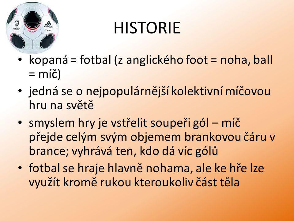 HISTORIE kopaná = fotbal (z anglického foot = noha, ball = míč)