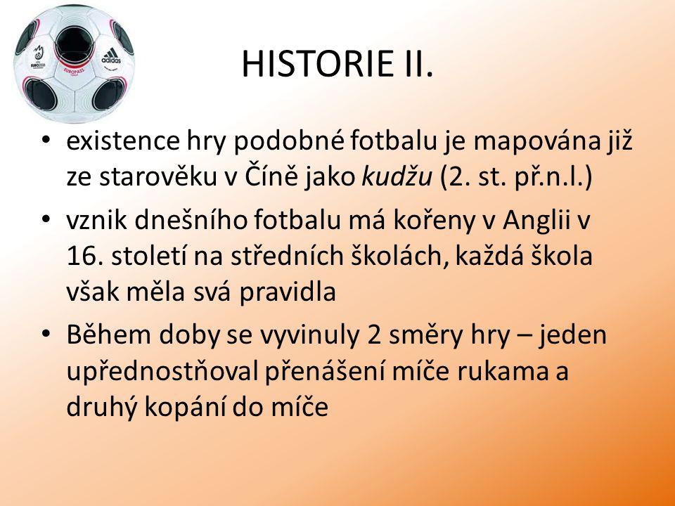 HISTORIE II. existence hry podobné fotbalu je mapována již ze starověku v Číně jako kudžu (2. st. př.n.l.)