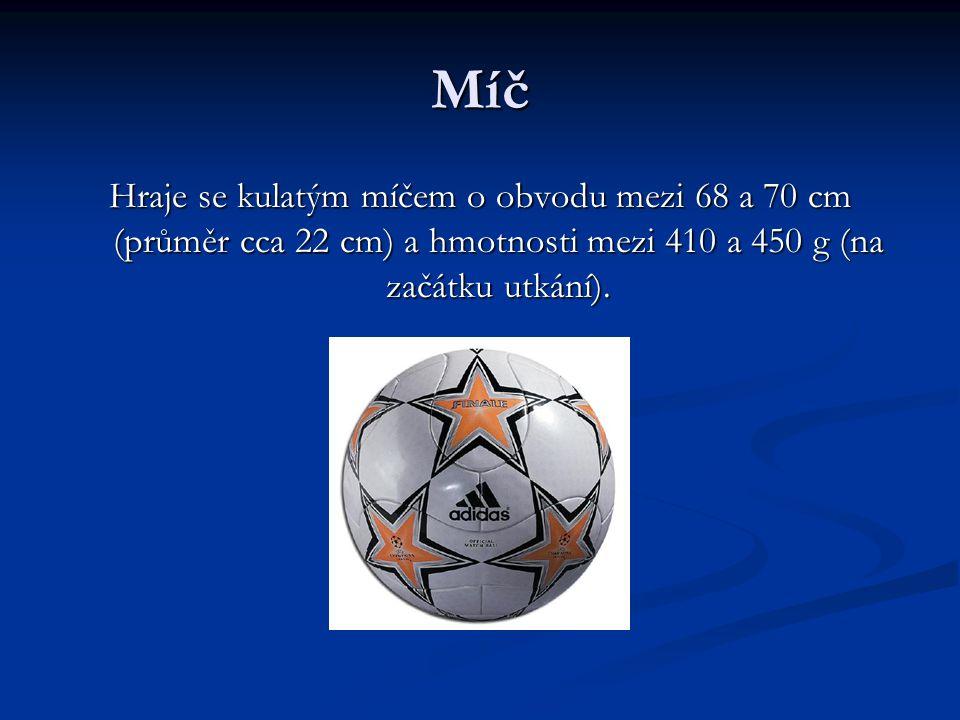 Míč Hraje se kulatým míčem o obvodu mezi 68 a 70 cm (průměr cca 22 cm) a hmotnosti mezi 410 a 450 g (na začátku utkání).