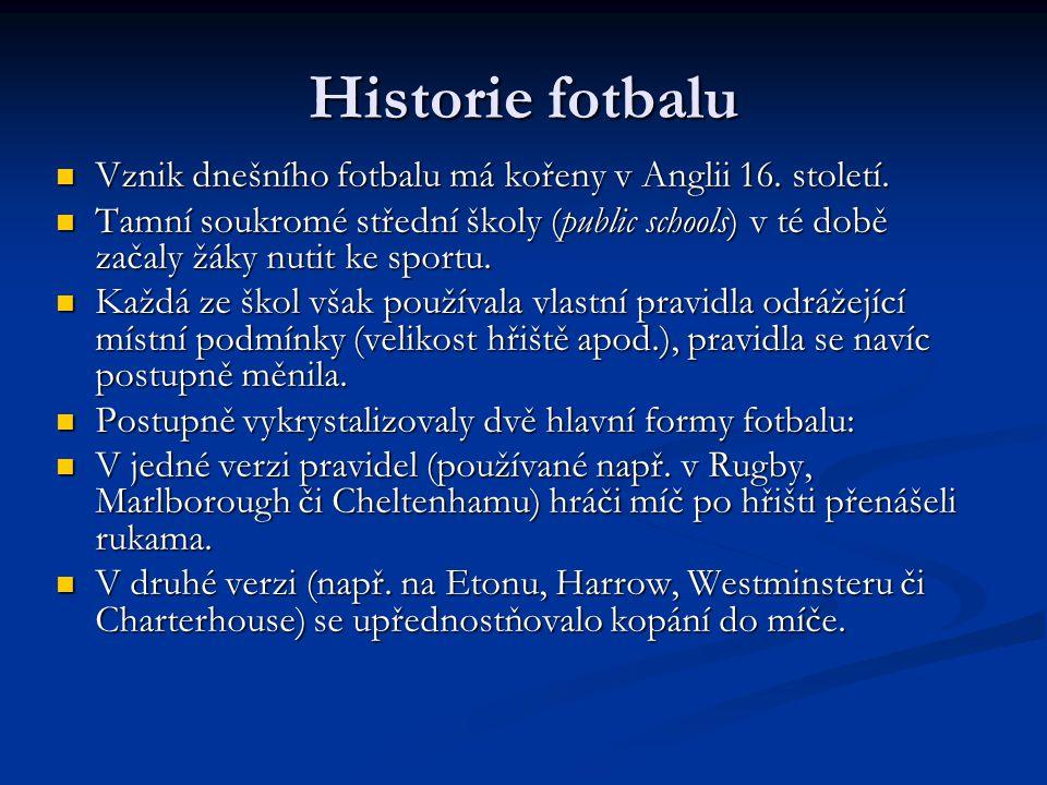 Historie fotbalu Vznik dnešního fotbalu má kořeny v Anglii 16. století.