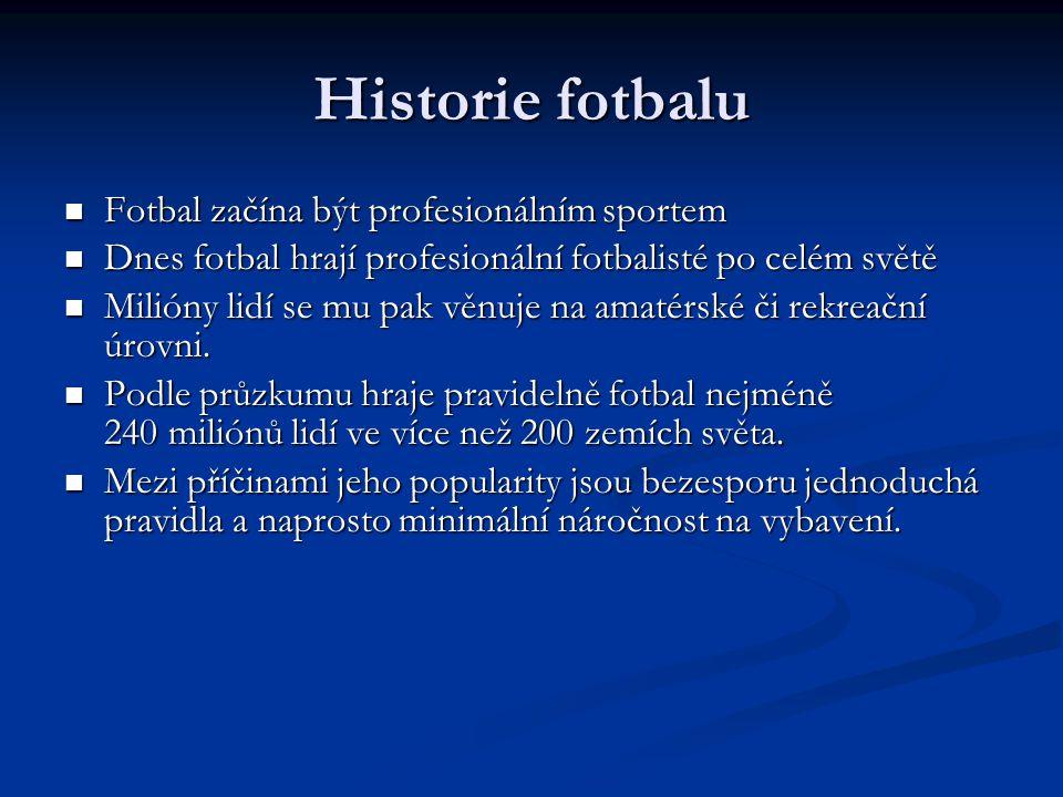 Historie fotbalu Fotbal začína být profesionálním sportem