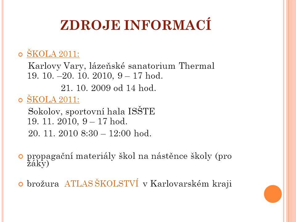 ZDROJE INFORMACÍ ŠKOLA 2011: Karlovy Vary, lázeňské sanatorium Thermal 19. 10. –20. 10. 2010, 9 – 17 hod.