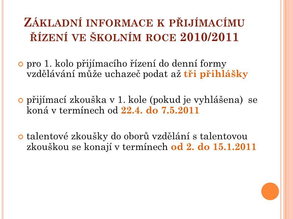 Základní informace k přijímacímu řízení ve školním roce 2010/2011