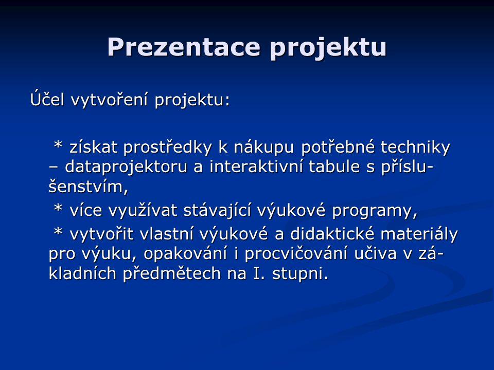 Prezentace projektu Účel vytvoření projektu: