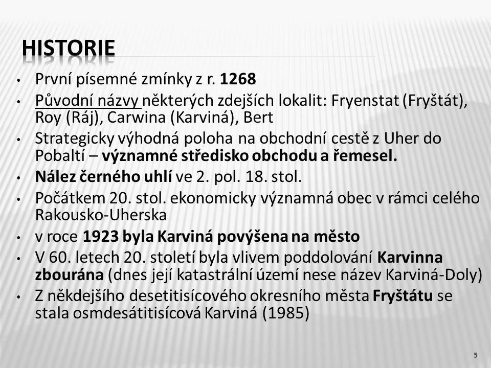 Historie První písemné zmínky z r. 1268