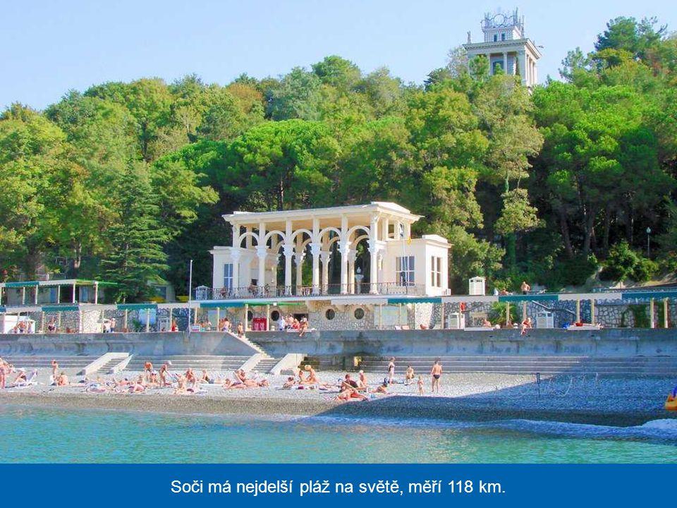 Soči má nejdelší pláž na světě, měří 118 km.