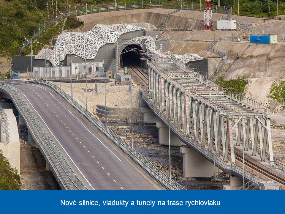 Nové silnice, viadukty a tunely na trase rychlovlaku