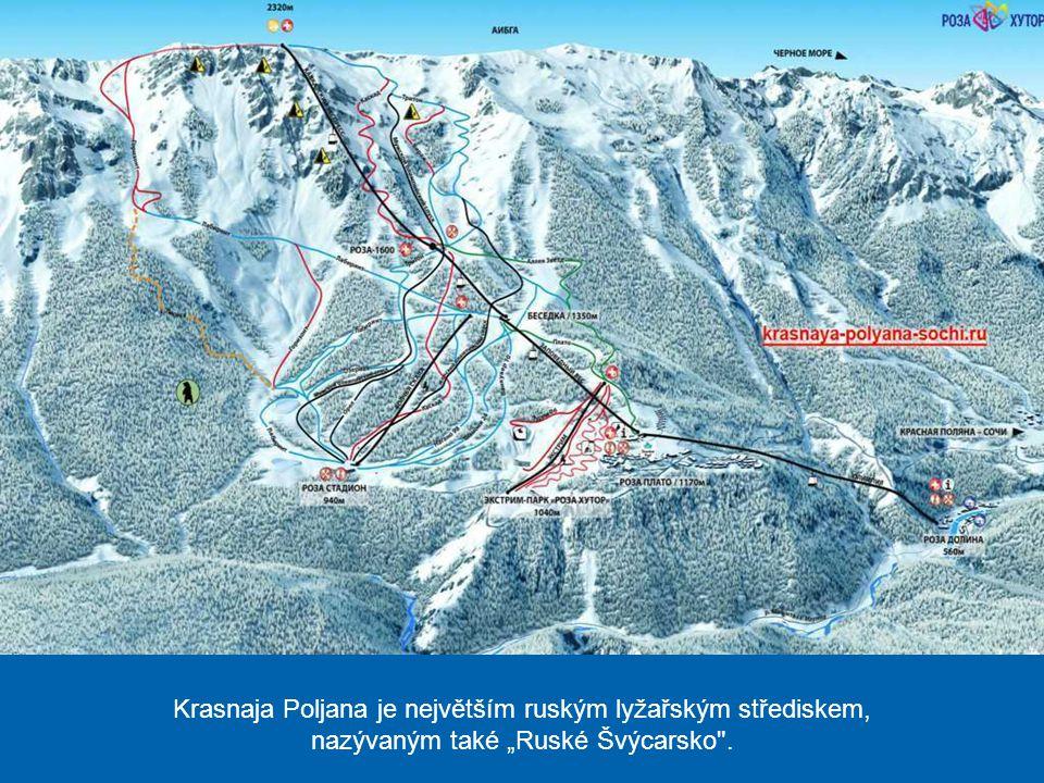"""Krasnaja Poljana je největším ruským lyžařským střediskem, nazývaným také """"Ruské Švýcarsko ."""