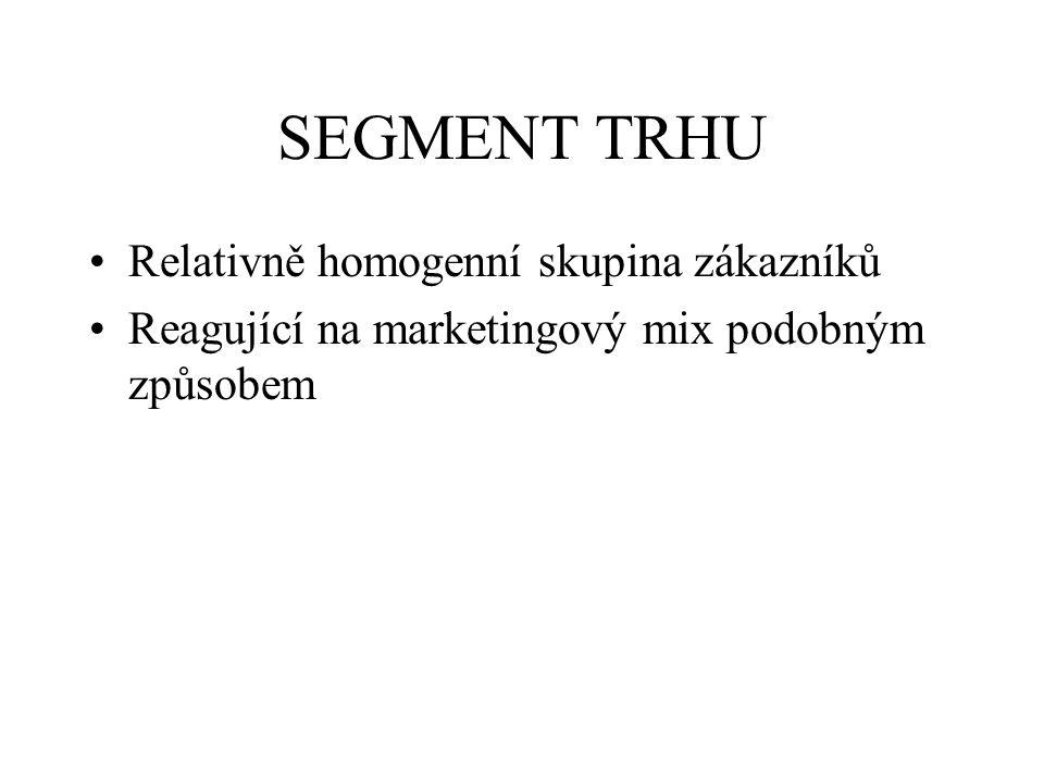 SEGMENT TRHU Relativně homogenní skupina zákazníků