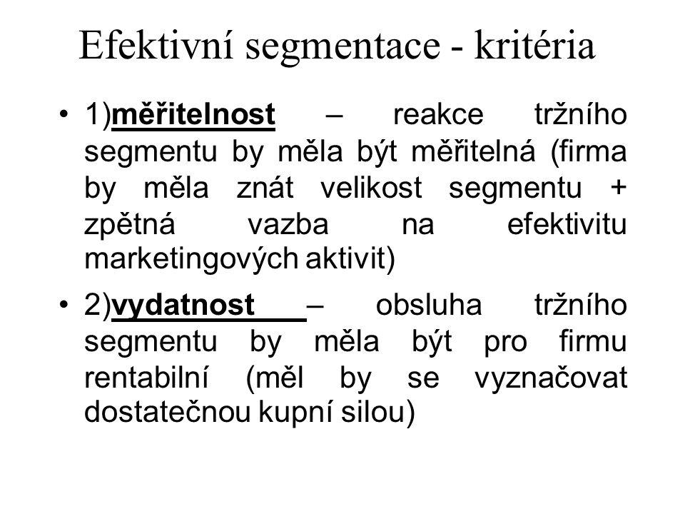 Efektivní segmentace - kritéria