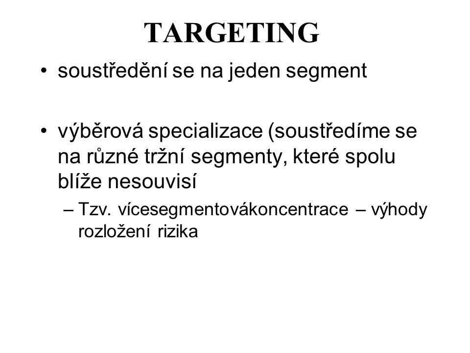 TARGETING soustředění se na jeden segment