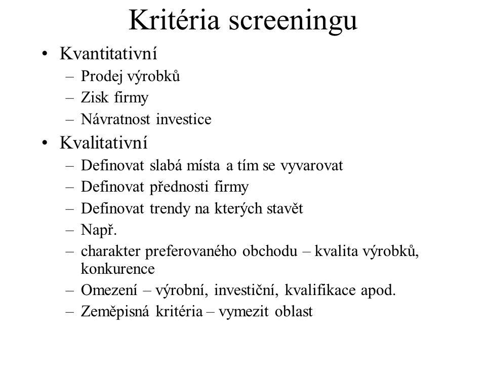 Kritéria screeningu Kvantitativní Kvalitativní Prodej výrobků