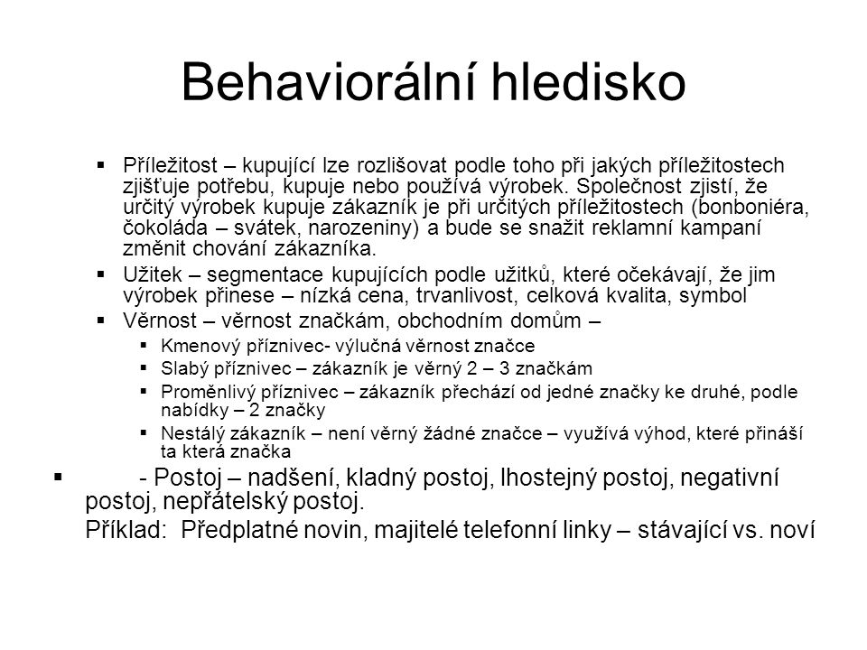Behaviorální hledisko