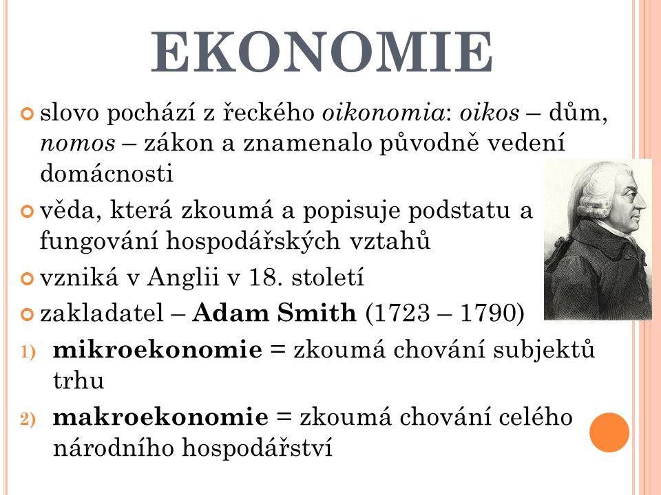 EKONOMIE slovo pochází z řeckého oikonomia: oikos – dům, nomos – zákon a znamenalo původně vedení domácnosti.