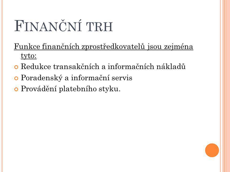 Finanční trh Funkce finančních zprostředkovatelů jsou zejména tyto: