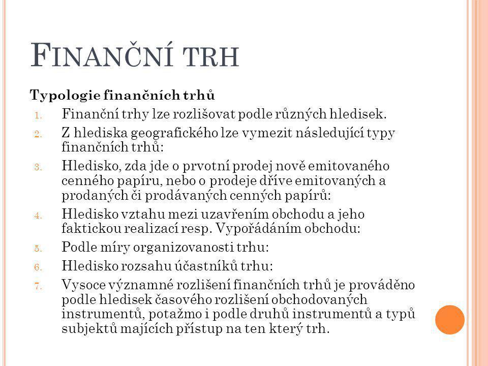 Finanční trh Typologie finančních trhů