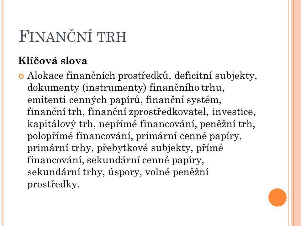 Finanční trh Klíčová slova