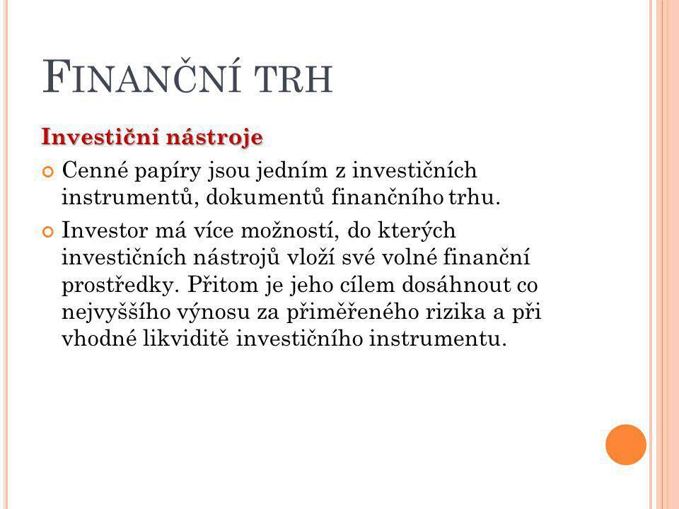 Finanční trh Investiční nástroje