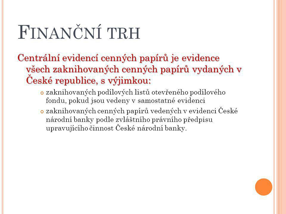 Finanční trh Centrální evidencí cenných papírů je evidence všech zaknihovaných cenných papírů vydaných v České republice, s výjimkou: