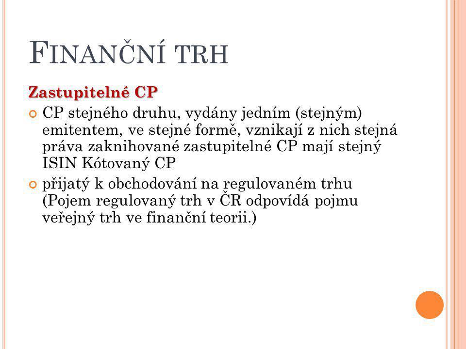 Finanční trh Zastupitelné CP