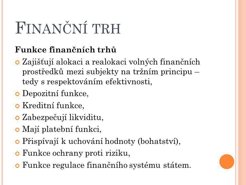 Finanční trh Funkce finančních trhů