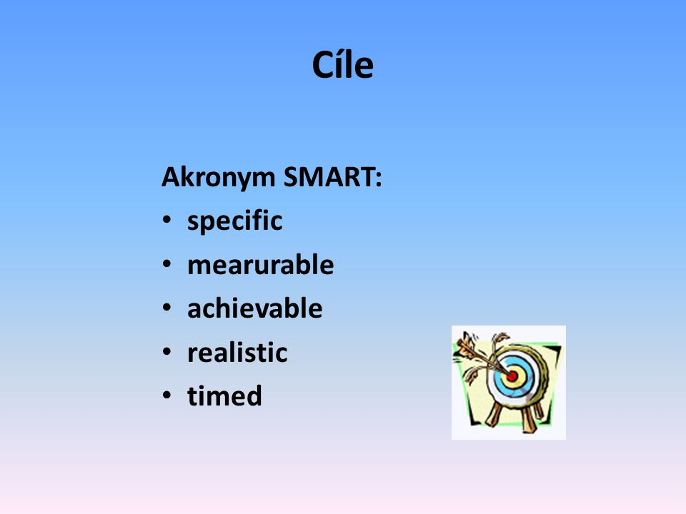 Cíle Akronym SMART: specific mearurable achievable realistic timed
