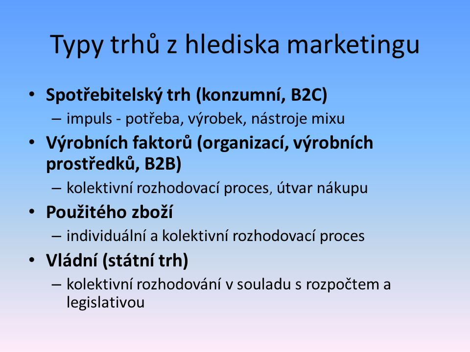 Typy trhů z hlediska marketingu