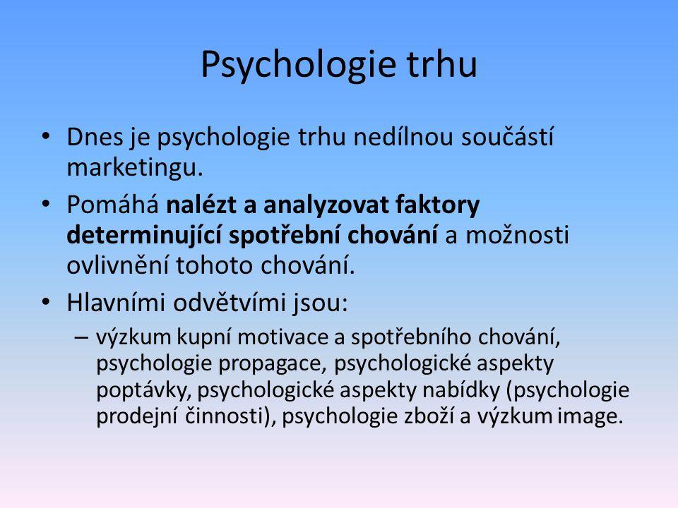 Psychologie trhu Dnes je psychologie trhu nedílnou součástí marketingu.