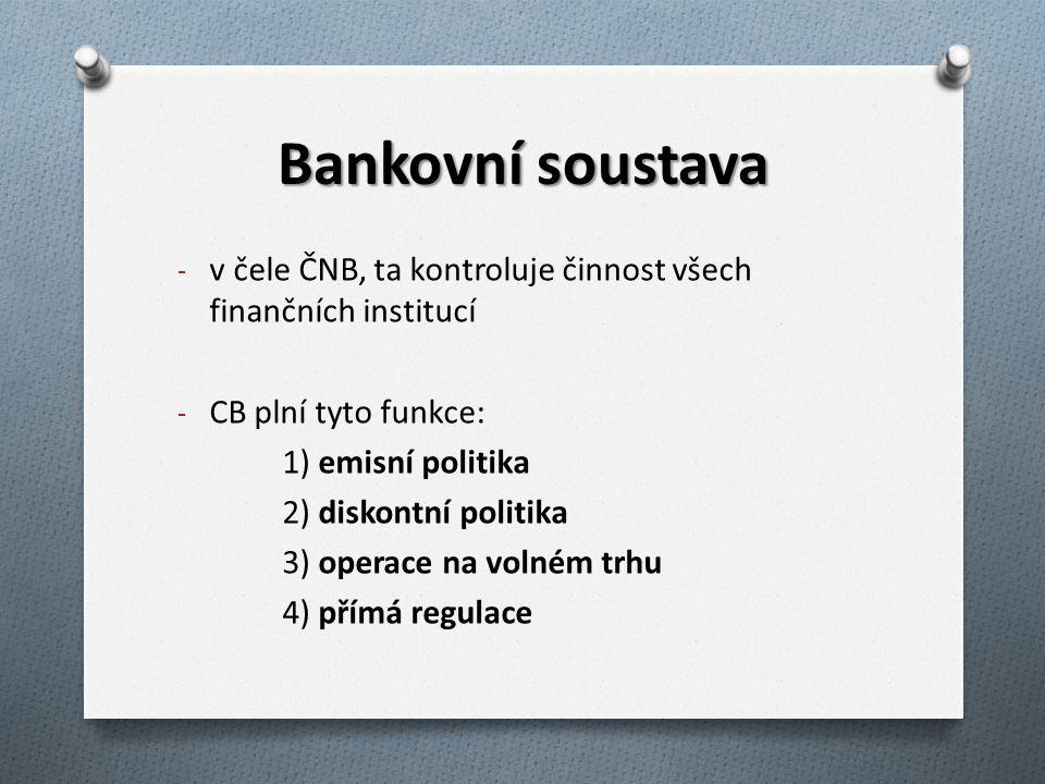 Bankovní soustava v čele ČNB, ta kontroluje činnost všech finančních institucí. CB plní tyto funkce: