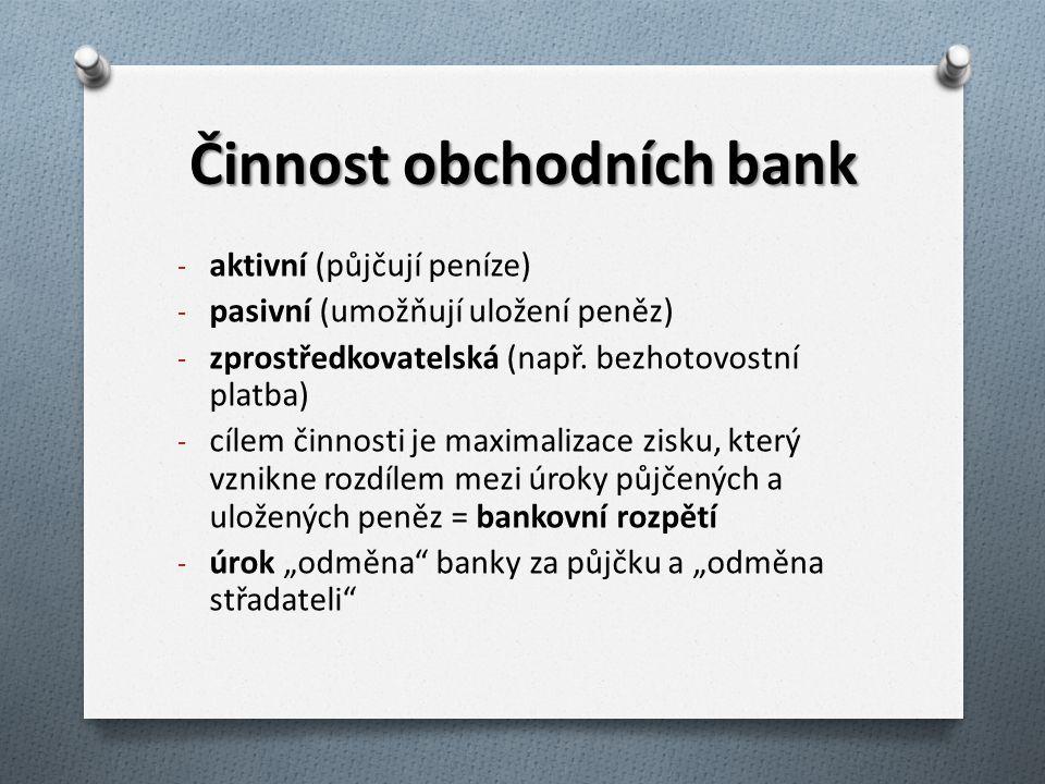 Činnost obchodních bank