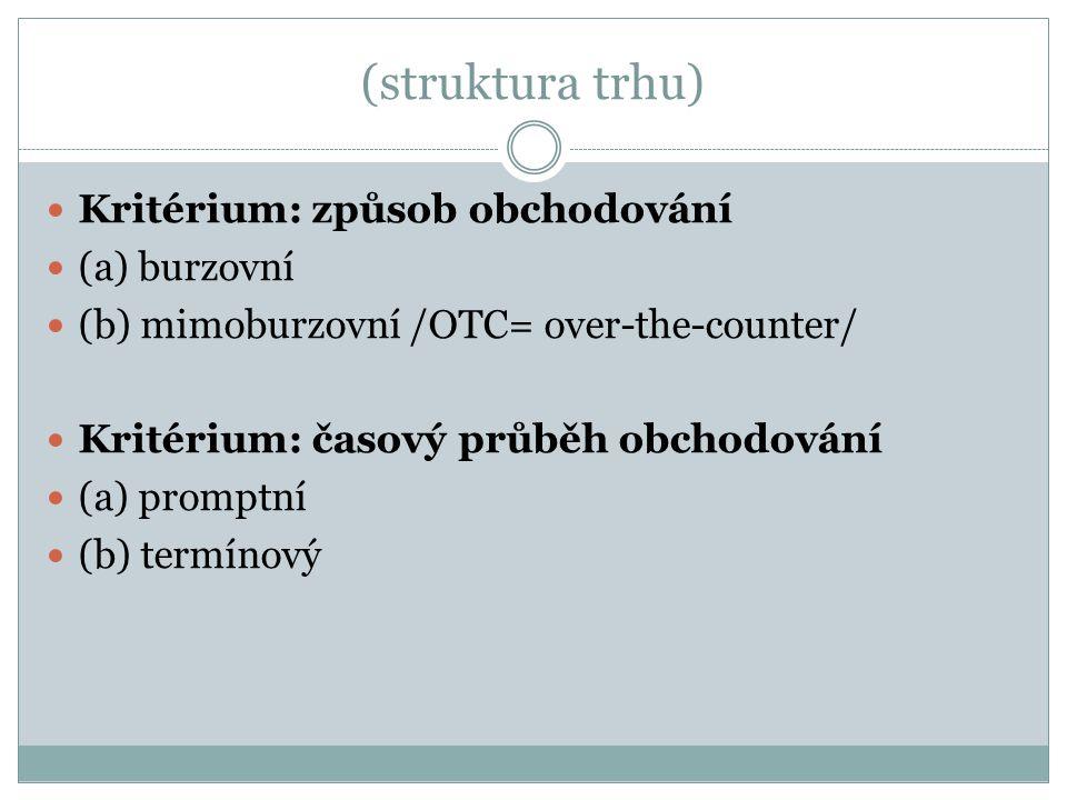 (struktura trhu) Kritérium: způsob obchodování (a) burzovní