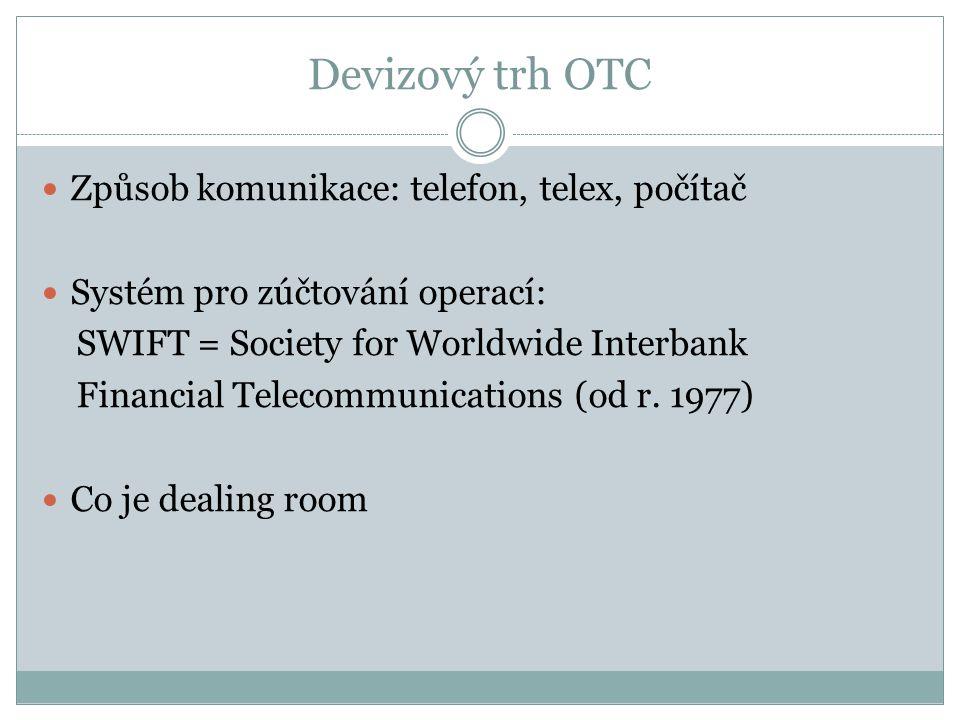 Devizový trh OTC Způsob komunikace: telefon, telex, počítač