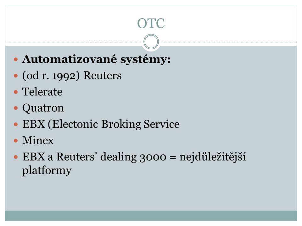 OTC Automatizované systémy: (od r. 1992) Reuters Telerate Quatron