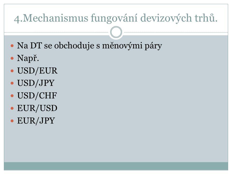 4.Mechanismus fungování devizových trhů.