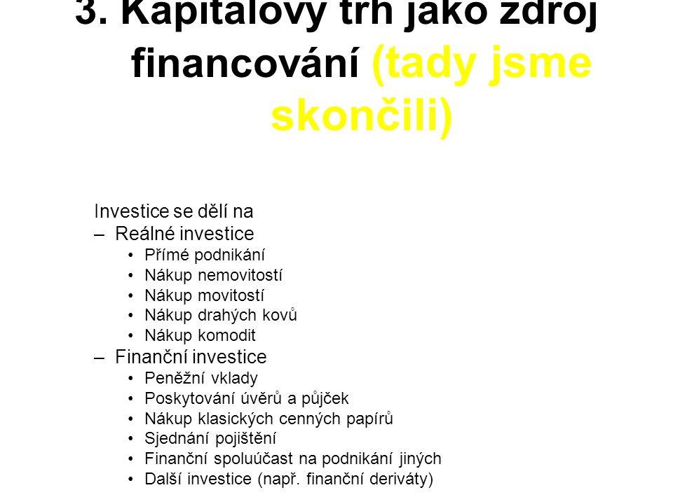 3. Kapitálový trh jako zdroj financování (tady jsme skončili)