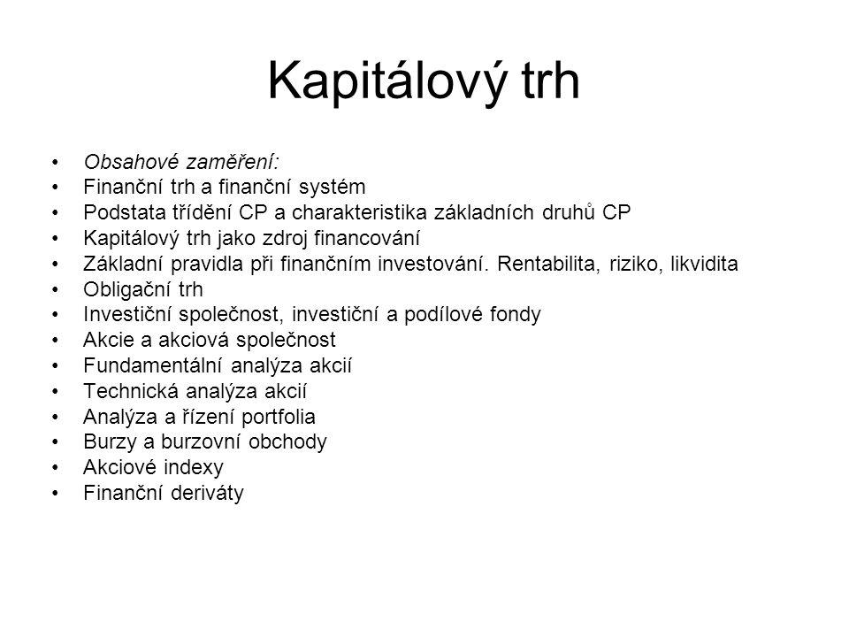 Kapitálový trh Obsahové zaměření: Finanční trh a finanční systém