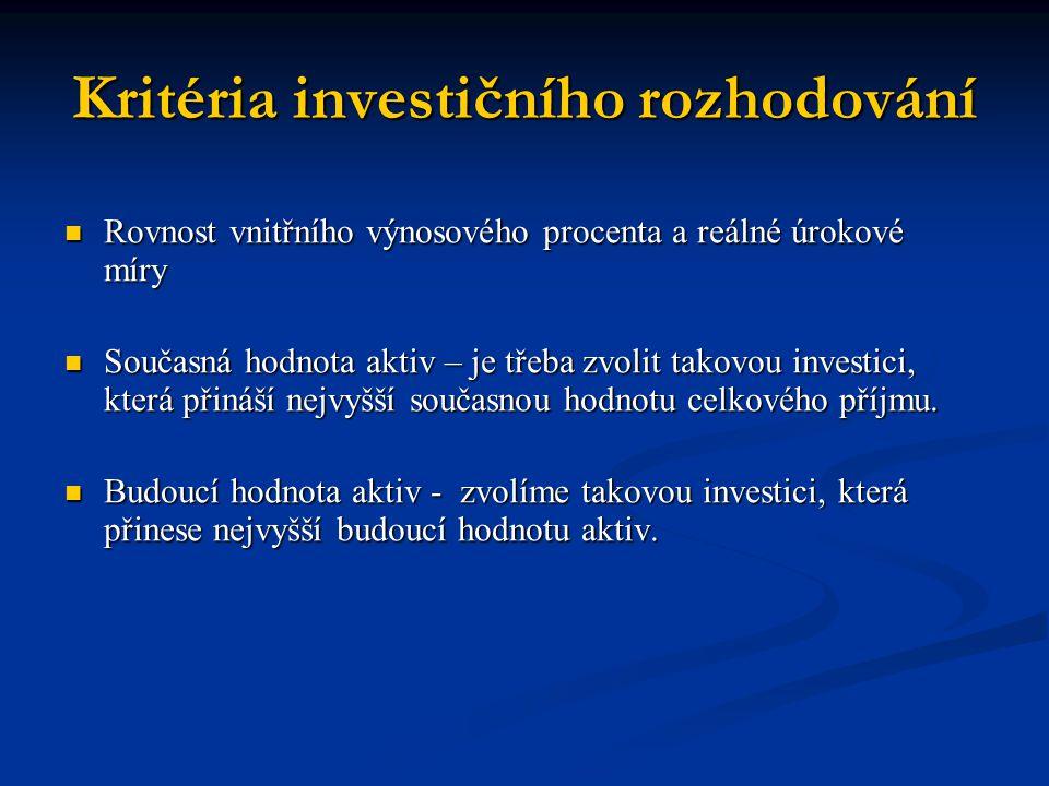 Kritéria investičního rozhodování