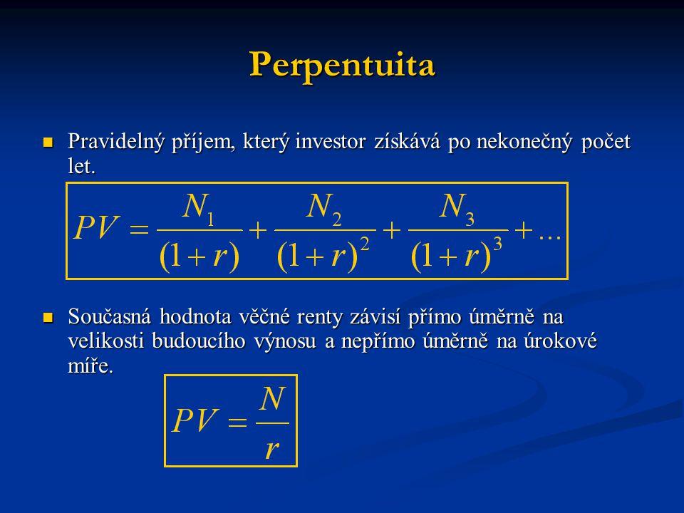 Perpentuita Pravidelný příjem, který investor získává po nekonečný počet let.