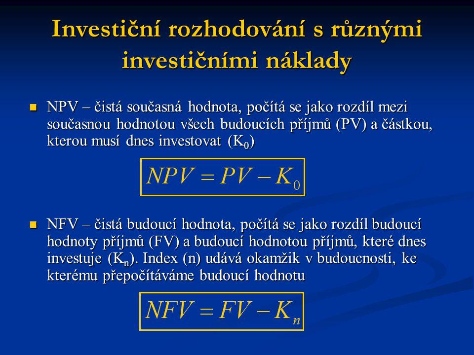 Investiční rozhodování s různými investičními náklady