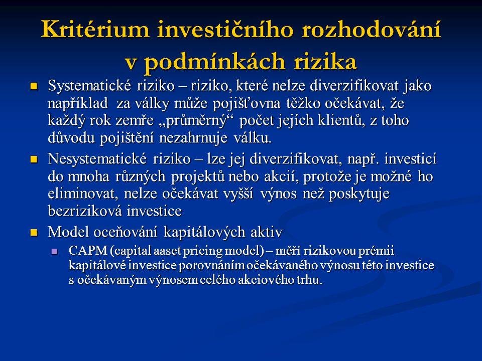 Kritérium investičního rozhodování v podmínkách rizika